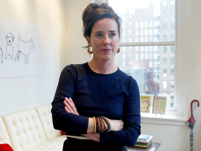 Kate Spade's handbag collection was wildly popular. Here, the designer is pictured in her New York City office back in 2002. Picture: David Howells/Corbis via Getty Images