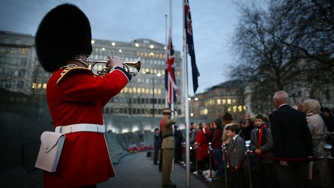 The Last Post is played during an ANZAC (Australia New Zealand Army Corps) Day ceremony at The Australian War Memorial on April 25, 2013 in London, England. (Photo by Peter Macdiarmid/Getty Images)