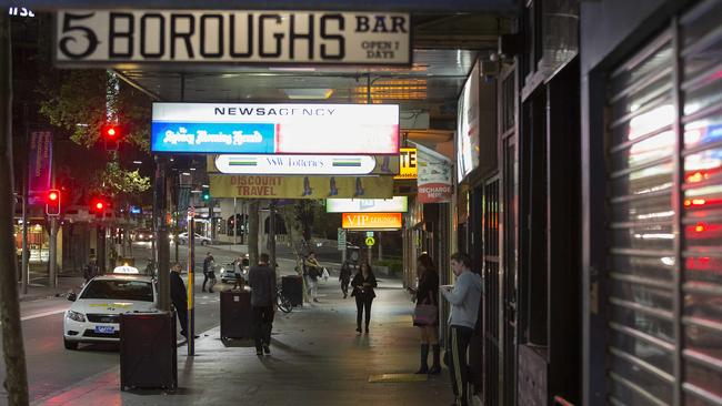 Darlinghurst Road in Sydney's Kings Cross is nearly empty thanks to lockout laws. Picture: Chris McKeen