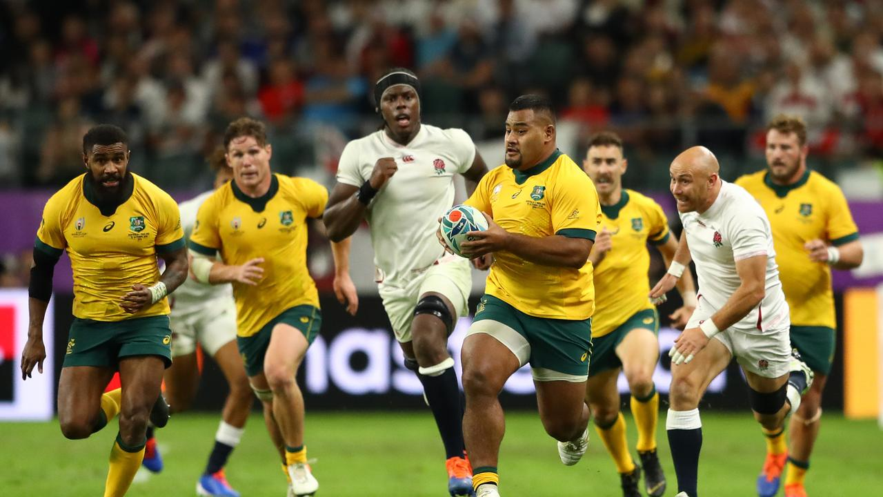 Taniela Tupou in action during the Wallabies' quarter-final loss to England.