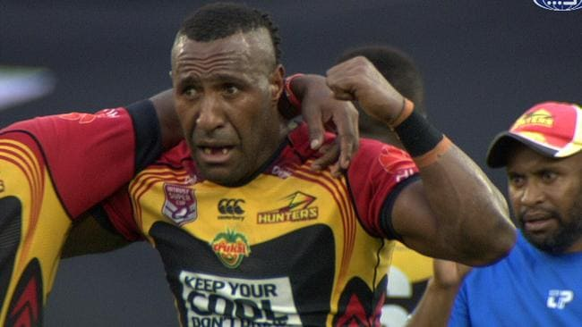 Willie Minoga celebrates the winning try.