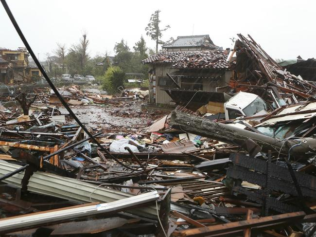 Damaged homes in Ichihara, Chiba prefecture. Picture: AFP