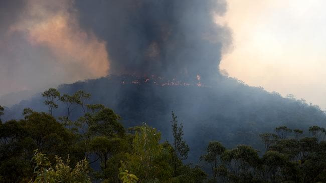 The Gospers Mountain fire is seen burning in bushland near Colo Heights, north west of Sydney on Wednesday. Picture: AAP Image/Dan Himbrechts