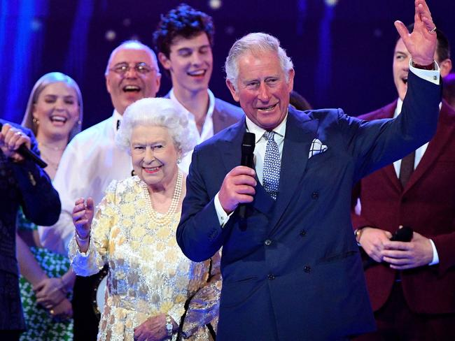 Prince Charles with his mother, Queen Elizabeth, at her 92nd birthday celebrations in April. Picture: AFP