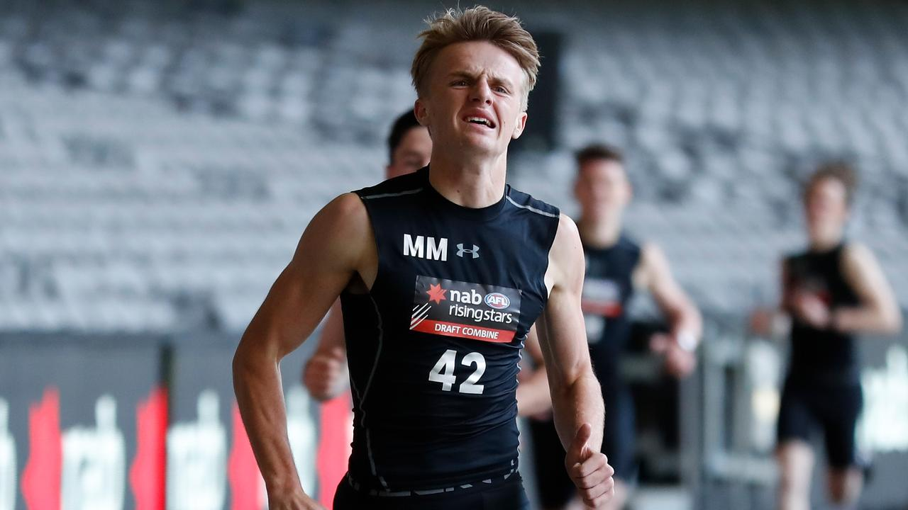 Jacob Kennerley wins the 2km time trial during the AFL draft combine. Photo: Michael Willson/AFL Media/Getty Images.