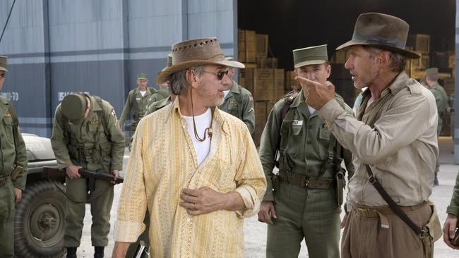 Steven Spielberg and Harrison Ford on the set of the fourth Indiana Jones film.