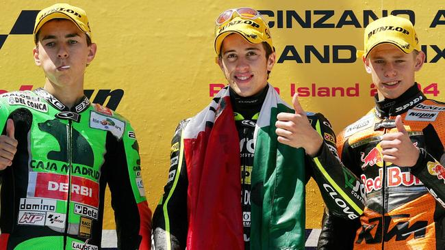 The kids are all right. The 125cc podium at Phillip Island in 2004, from left, Jorge Lorenzo, Andrea Dovizioso and Casey Stoner. Pic: AFP