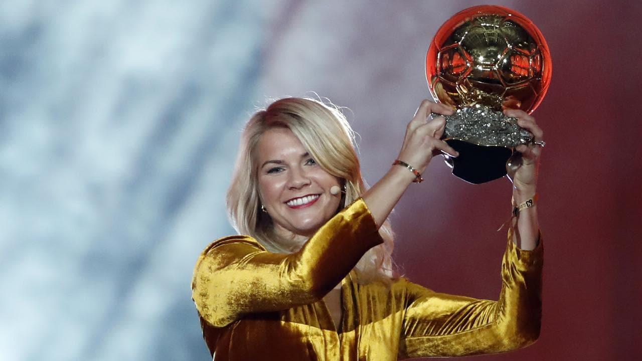 Ada Hegerberg celebrates with the Women's Ballon d'Or (AP Photo/Christophe Ena)