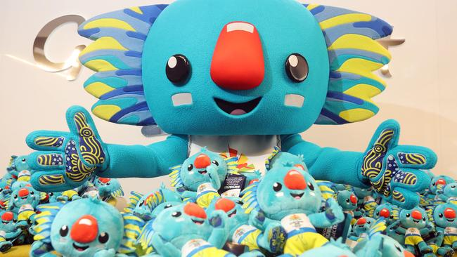Commonwealth Games mascot Borobi with some of the toys which look like him. Picture: Richard Gosling