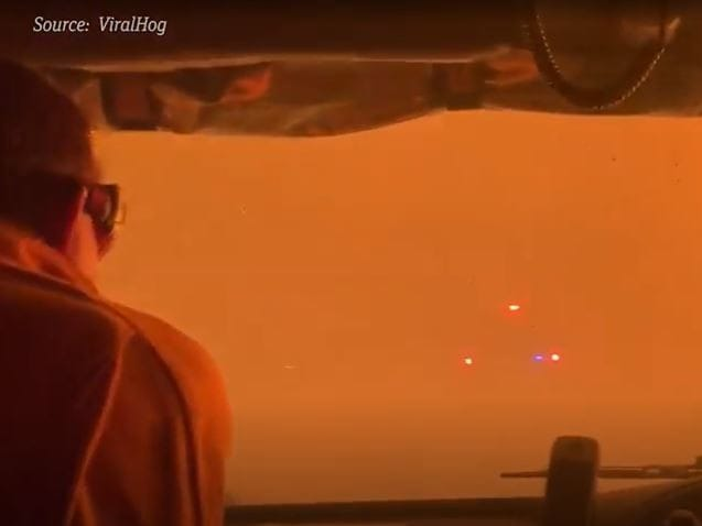 Inside the fire on Kangaroo Island.