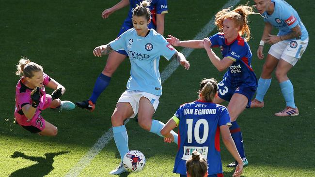Larissa Crummer scores late in the first half for City. Pic: Michael Klein