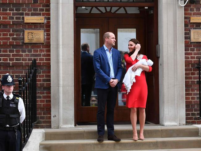 William, Kate introduced and their new son outside the famous Lindo Wing. Picture: AFP