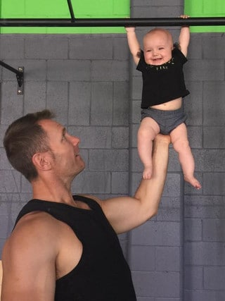 Rowan Baxter with son Trey at Integr8 Fitness. Picture: Supplied