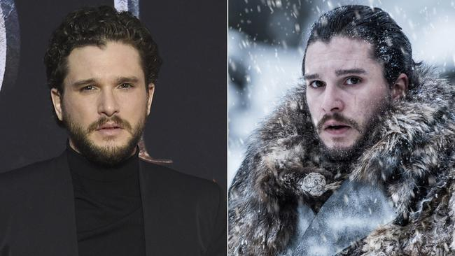 Kit Harington looking suave on a red carpet, and at right, as Jon Snow. Picture: Evan Agostini/Invision/AP, left, and HBO