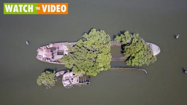 Stunning drone vision of Sydney shipwrecks