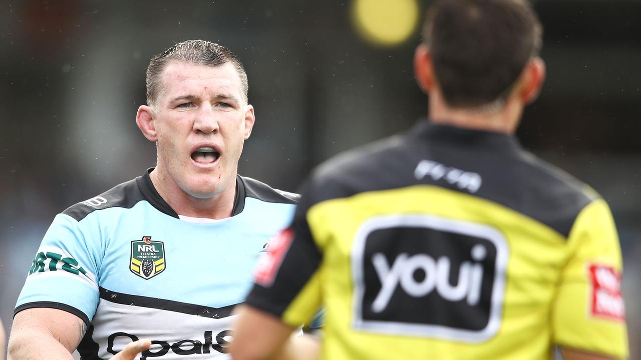 Paul Gallen of the Sharks makes his point to referee Adam Gee.
