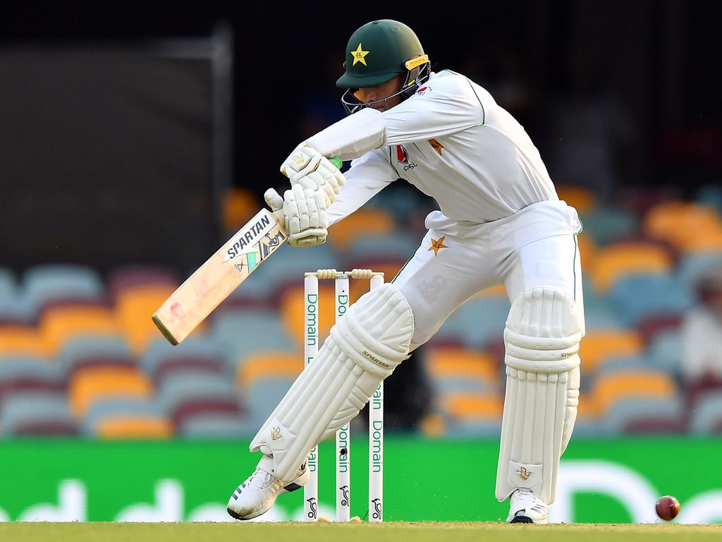 Pakistan's Naseem Shah plays the first ball of his Test debut on day one of the first Test cricket match between Pakistan and Australia at the Gabba in Brisbane on November 21, 2019. (Photo by Saeed KHAN / AFP) / -- IMAGE RESTRICTED TO EDITORIAL USE - STRICTLY NO COMMERCIAL USE --