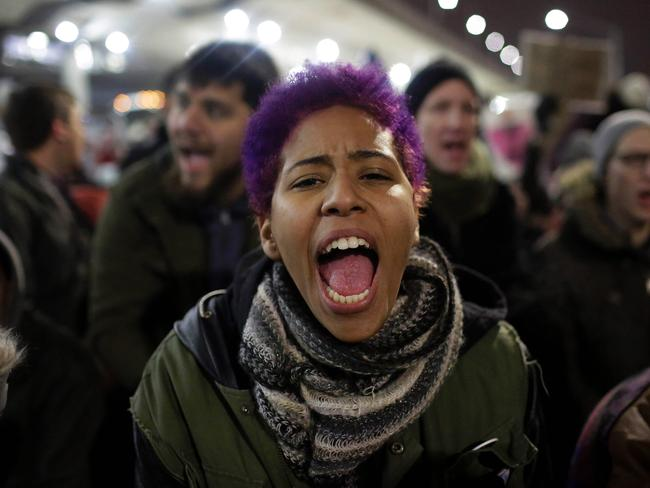 Demonstrators at Chicago O'Hare International Airport on January 28. Picture: Joshua Lott/AFP
