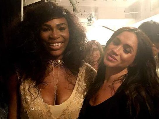 Serena Williams and friend Meghan. Picture: Supplied