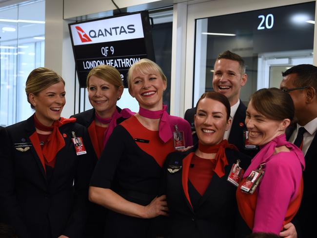 Cabin crew from the inaugural flight from Perth to London.