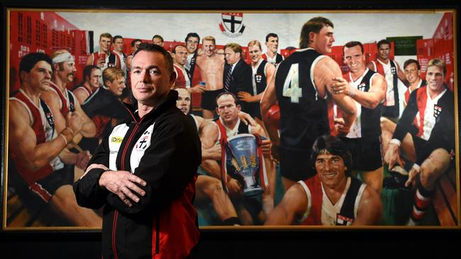 St Kilda Coach Alan Richardson in front of the Saints' Hall of Fame painting. Picture: Jason Sammon