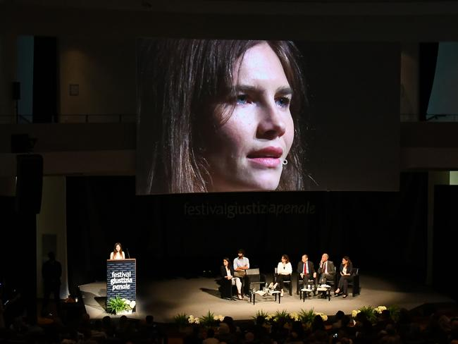 Amanda Knox returned to Italy for the first time since being acquitted in 2015 of the gruesome killing of her British housemate after spending four years behind bars. Picture: AFP