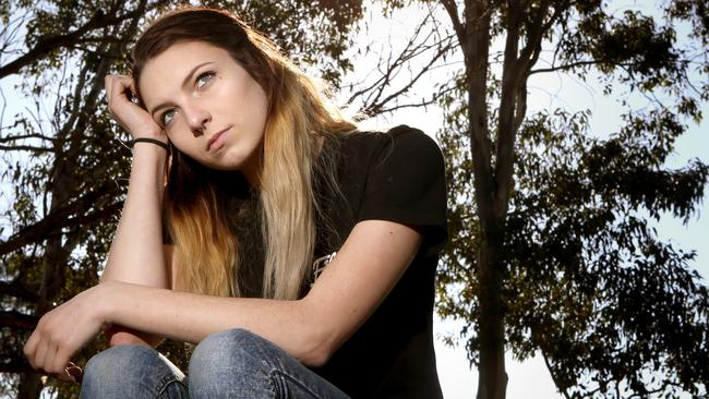 Porn Victim, Sarah, trusted a guy when she was 15 and sent him images. He then shared them around school. Now her underage photos are all over the porn-ring website. Picture: Chris Pavlich