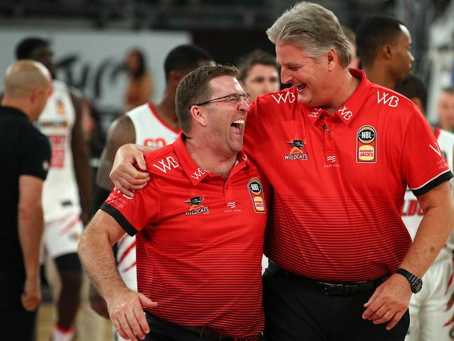 Wildcats coach Trevor Gleeson (left) knows the have dodged a bullet at Melbourne Arena.
