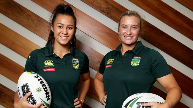 Corban McGregor and Ruan Sims at the announcement of the NRL women's competition. Pic: Jonathan Ng