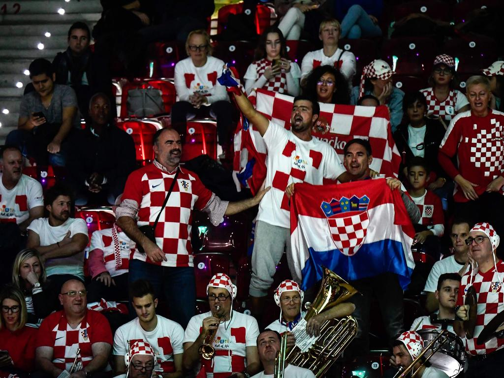 Croatia's supporters cheer from the stands.
