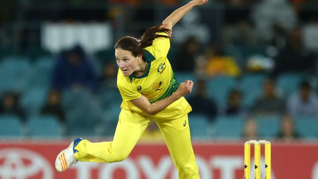 Megan Schutt bowling for Australia against New Zealand in their T20 match in Canberra this month. Picture: Getty Images