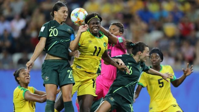 Sam Kerr is the third woman ever to score four goals in a World Cup match. Image: Getty Images.