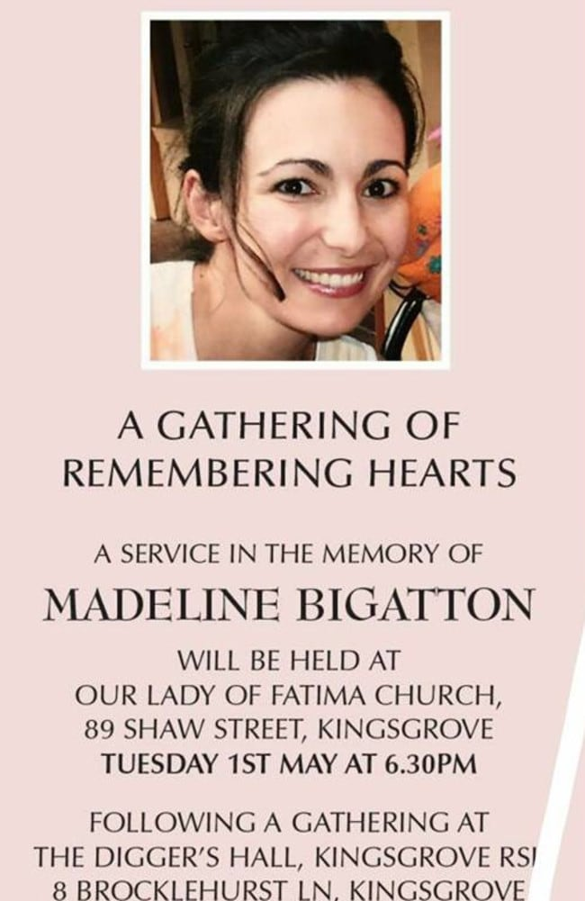 Madeline Bigatton's memorial service held in May, although a relative admitted they don't really know what happened to her.