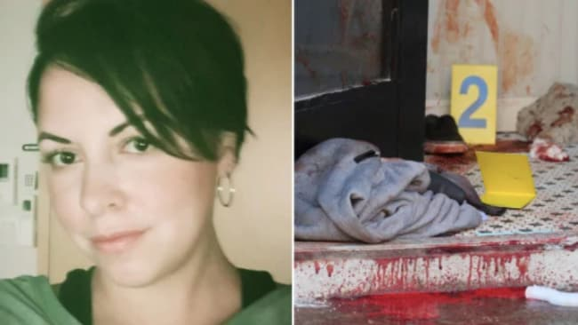 Jennifer Irigoyen and the scene inside the apartment building lobby.Pictures: Facebook and Ellis Kaplan. Source: Supplied