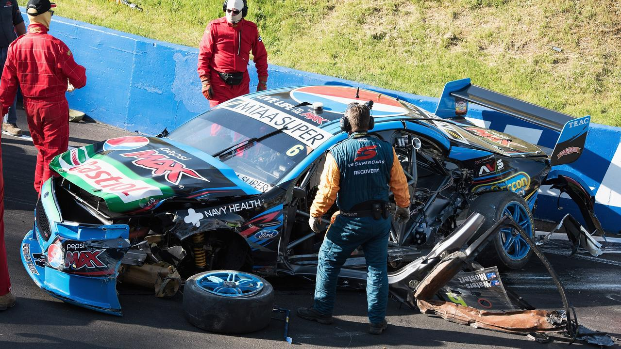 The car of Chaz Mostert seen on the circuit after his horrible accident.