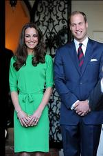 <p>The Duke and Duchess of Cambridge attend a private reception held at the British Consul-General's residence in Los Angeles, California. The Duchess is wearing a green shift dress with sash around the waist. Photo: Frazer Harrison, Getty Images for British Consul-General-Los Angeles</p>