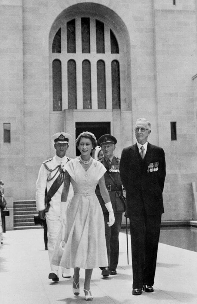 Royal occasion ... Charles Bean with the Queen at the War Memorial in 1954. Picture: Australian War Memorial
