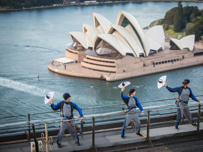 World first Tai Chi Event on Sydney Harbour Bridge. Picture: BridgeClimb