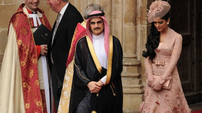 Princess Ameera Al-Taweel with her ex-husband, Prince Al-Waleed bin Talal exiting Westminster Abbey after the 2011 royal wedding. Picture: Ian Gavan/GP/Getty Images Source:Getty Images