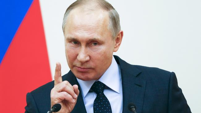 President Vladimir Putin is expected to win next month's election. Picture: Grigory Dukor/Pool Photo via AP