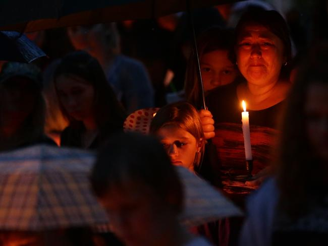 Candle light vigil for murdered schoolgirl victim Tiahleigh Palmer at Marsden held on Sunday night.