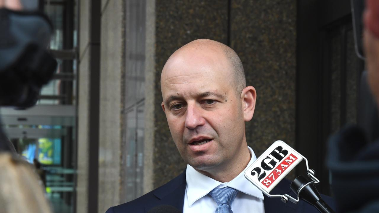 NRL CEO Todd Greenberg speaks to the media after leaving the NSW Federal Court