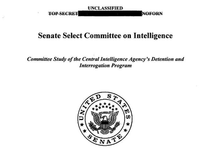 The front page of the Senate Select Committee on Intelligence Committee's Study of the Central Intelligence Agency's Detention and Interrogation Program report in Washington, DC. Source: AFP