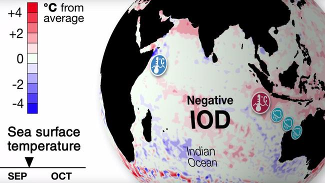 The negative Indian Ocean Dipole, which has brought rain across the continent, is weakening which means less rain. Source: BoM.