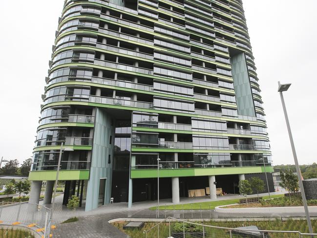 The Opal Tower in Olympic Park on day 10 as investigations continue. Picture: Dylan Robinson