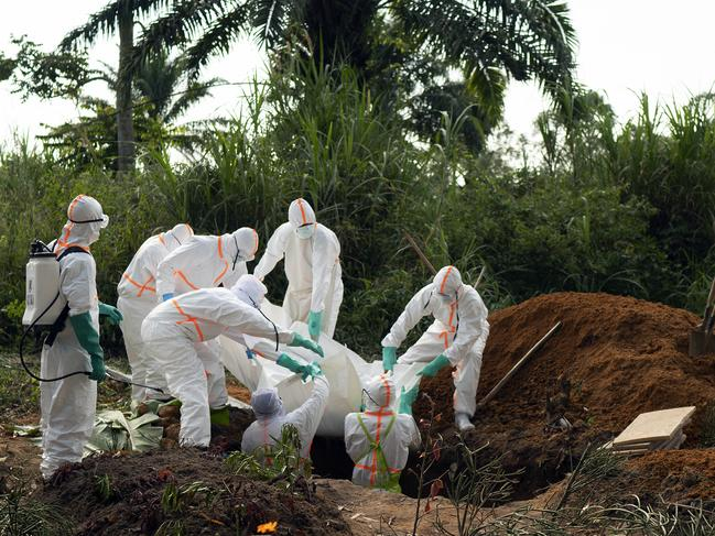 An Ebola victim is put to rest at the Muslim cemetery in Beni, Congo. Picture: AP