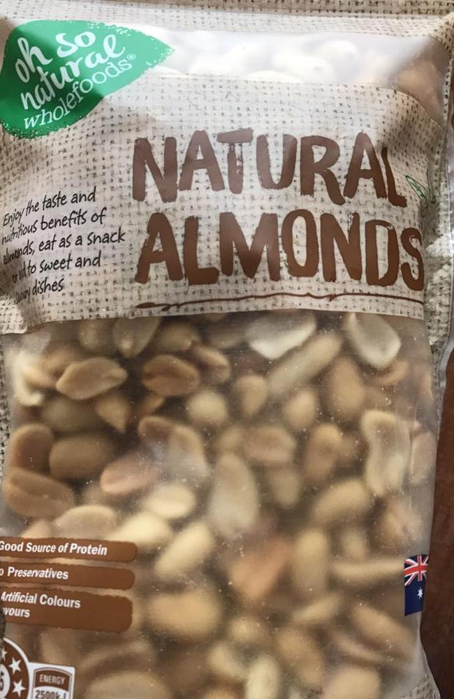 The packet was supposed to contain natural almonds, but was instead filled with peanuts. Picture: Facebook