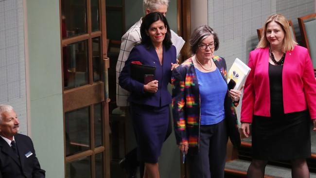 Julia Banks entering the chamber with Kerryn Phelps, Cathy McGowan and Rebekha Sharkie. Picture: Gary Ramage