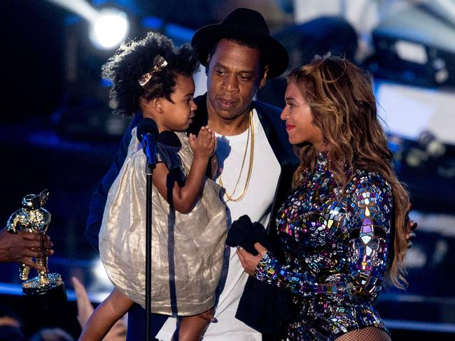 Rapper Jay Z and singer Beyonce with daughter Blue Ivy Carter at the 2014 MTV Video Music Awards. Picture: Mark Davis/Getty Images