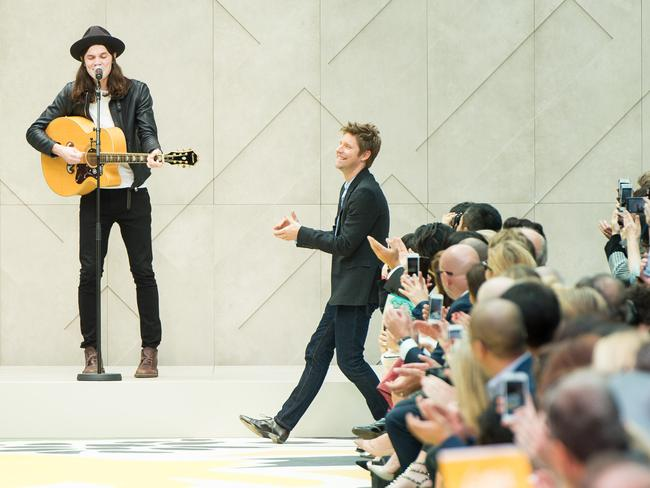 Burberry designer Christopher Bailey takes his bow at the Burberry Prorsum show during London Fashion Week. Photo: Ian Gavan.